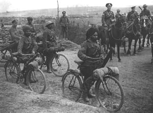 Indian cyclists at the cross roads on the Fricourt-Mametz Road, Somme area, July 1916