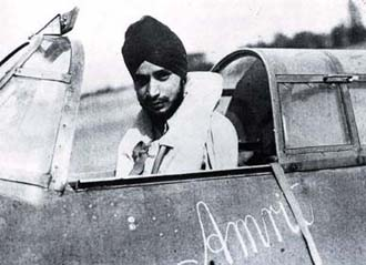 Mahindra Singh Pujji in the cockpit of his Hurricane Mk.II, Kenley airfield, near Croydon 1941