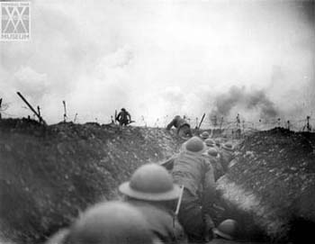 The classic First World War image - trenches, mud and men under fire